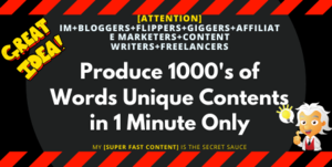 Thumbnail of [SUPER FAST CONTENT] How I Produce 1000's of Words Unique Contents in 1 MINUTE Only.