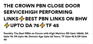 [The Crown PBN Links] Close Door PBN Service-High Performing PBN Links  - Upto DA 76 & TF 41 Thumbnail