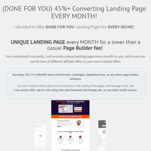 (DONE FOR YOU) 45%+ Converting Landing Pages EVERY MONTH! Thumbnail